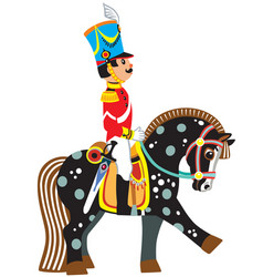 Cartoon soldier on a black horse vector