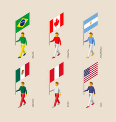 Isometric 3d people with flags vector