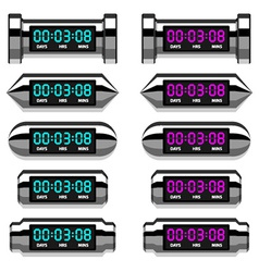 Chrome glowing digital counter vector