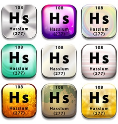 A periodic table showing hassium vector