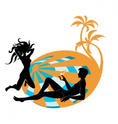 Cocktails on beach vector