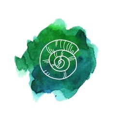 Sea shell on watercolor stain vector