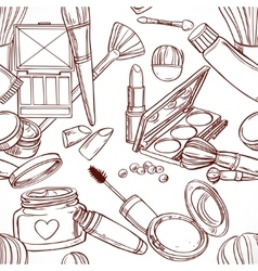 Seamless pattern from line art on cosmetics theme vector image