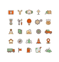 Location and travelling flat icons vector
