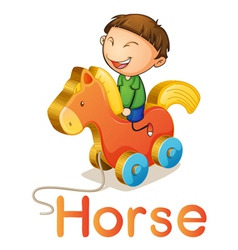 a boy on a toy horse vector image