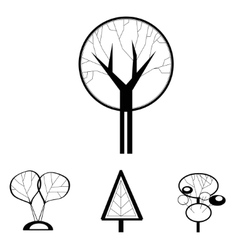 black and white decorative trees vector image vector image