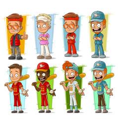 Cartoon sportsmen players characters set vector