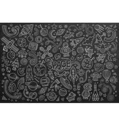 Chalkboard hand drawn doodles cartoon set vector image