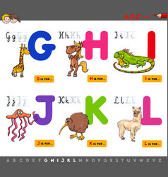 Educational cartoon alphabet for children vector