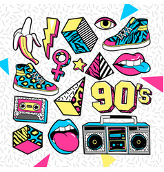 Fashion patches in in 80s-90s memphis style vector