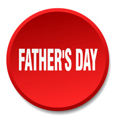 Fathers day red round flat isolated push button vector