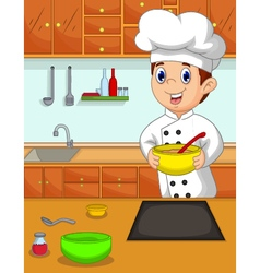 Funny chef cartoon bring bowl in the kitchen vector