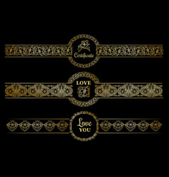 golden borders set with gold circles on the black vector image vector image
