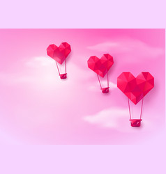 Hot air balloons heart shaped flying on pink sky vector
