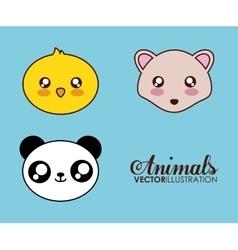 Kawaii hedgehog chicken and panda icon vector