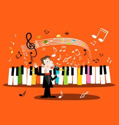 man singing song with piano keyboard and notes vector image vector image