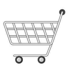 Minimarket shopping cart icon cartoon style vector