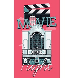 Movie night banner vector