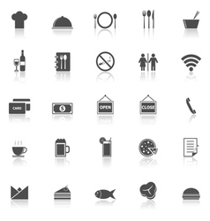 Restaurant icons with reflect on white background vector