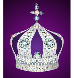 shiny crown of silver vector image vector image