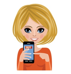 Smiling woman advertizes mobile payment vector
