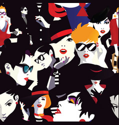 Stylish women in style pop art vector
