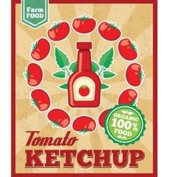 Tomato ketchup retro background vector image