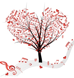 tree music heart vector image vector image