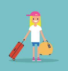 young teenage girl travelling with her luggage vector image
