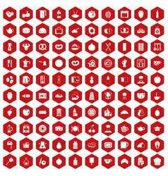 100 breakfast icons hexagon red vector