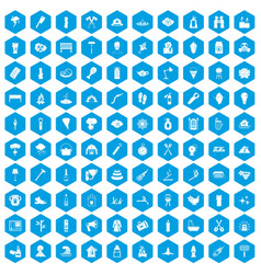 100 fire icons set blue vector