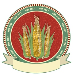 Corn label retro image vector