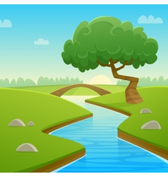 Summer cartoon landscape vector