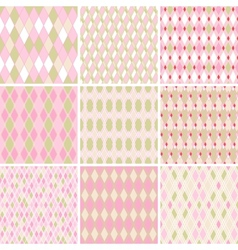 Seamless abstract retro pattern Set of 9 geometric vector image