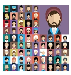 Set of people icons in flat style with faces 02 a vector