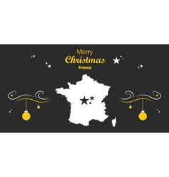 France merry christmas map black vector