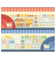 Supermarket with food and household products vector