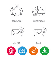 Teamwork presentation and e-mail icons vector