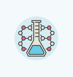 Molecule with flask icon vector