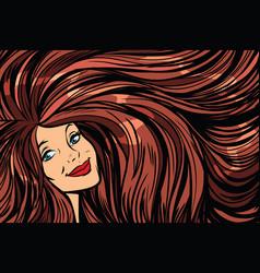 Joyful woman background with long hair right vector