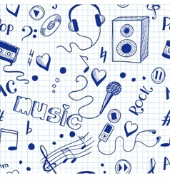 Semless background with sketch music elements vector