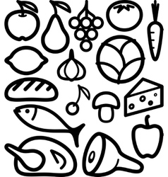 Set of food ingredient vector