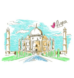 Taj mahal in agra vector