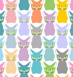 Color cat seamless texture pattern of cute cats vector