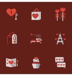 Love flat icons on red vector