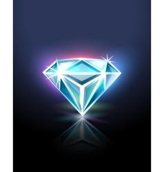 Diamond on black vector image