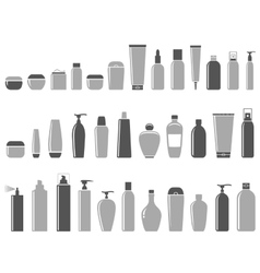 Blank cosmetic bottle set vector