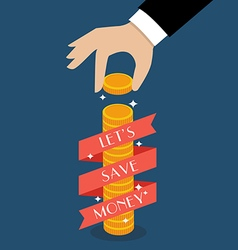 Business hand holding coin with banner vector