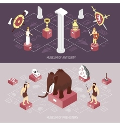 Antiquity museum 2 isometric banners set vector