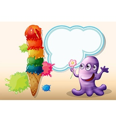 A lavender monster holding a flower near the giant vector image vector image